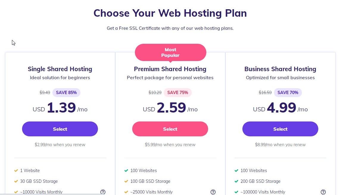 Hostinger wordpress web hosting plans