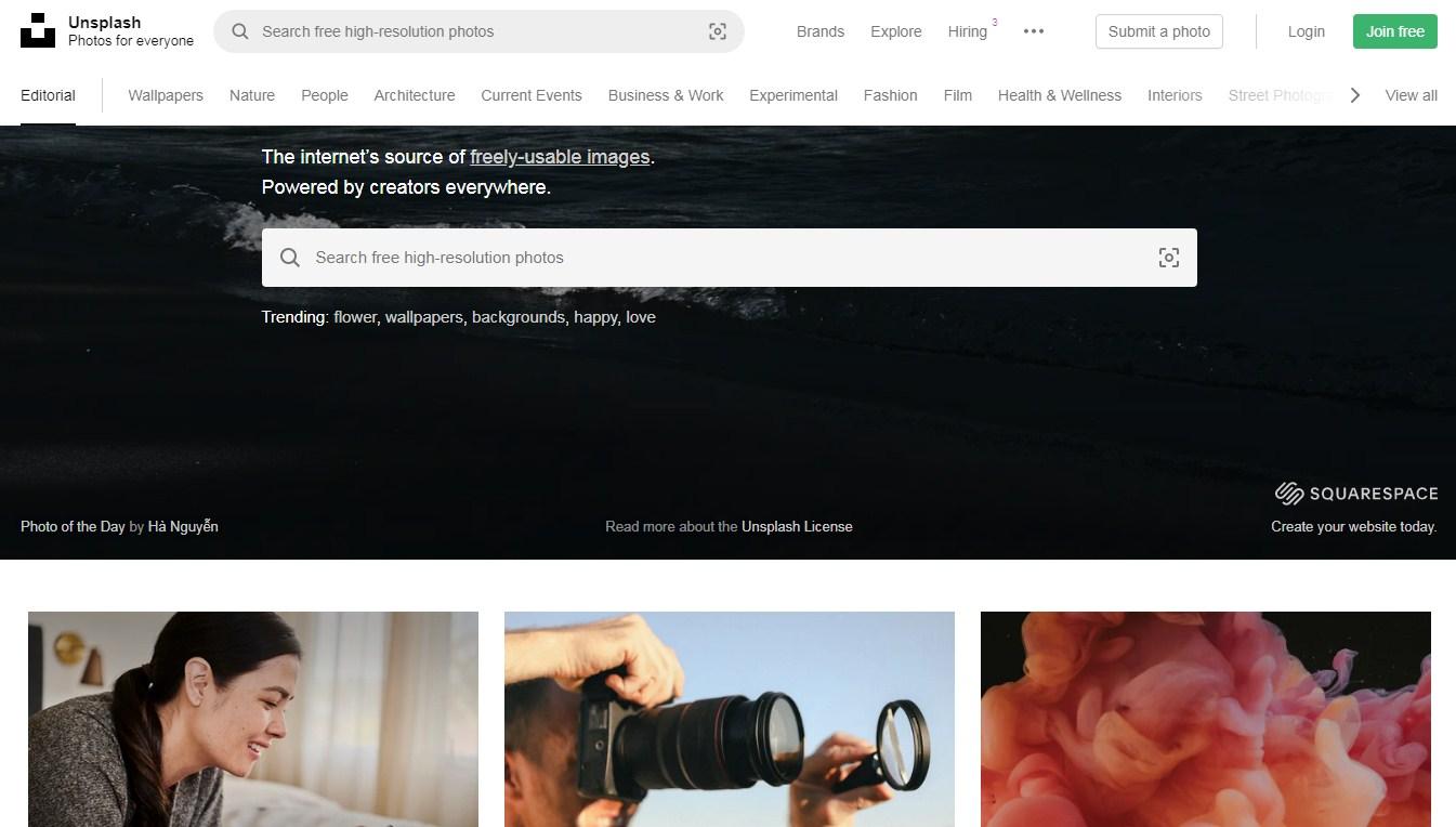 unsplash free images website